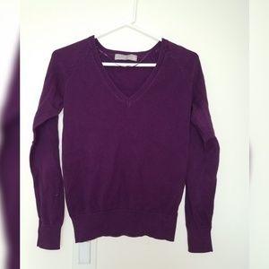 ZARA Purple Knit V-Neck Sweater